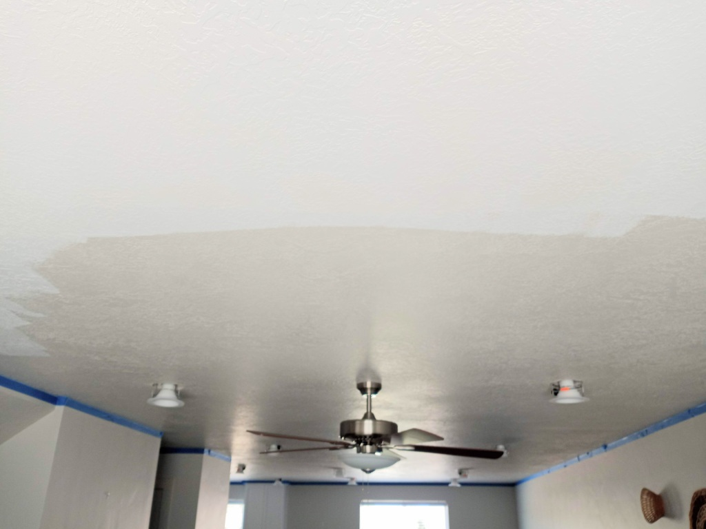 Paint a ceiling white before and after