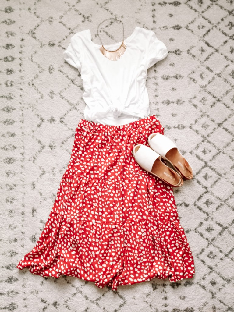 Red polka dot skirt with white tee and natural espadrilles
