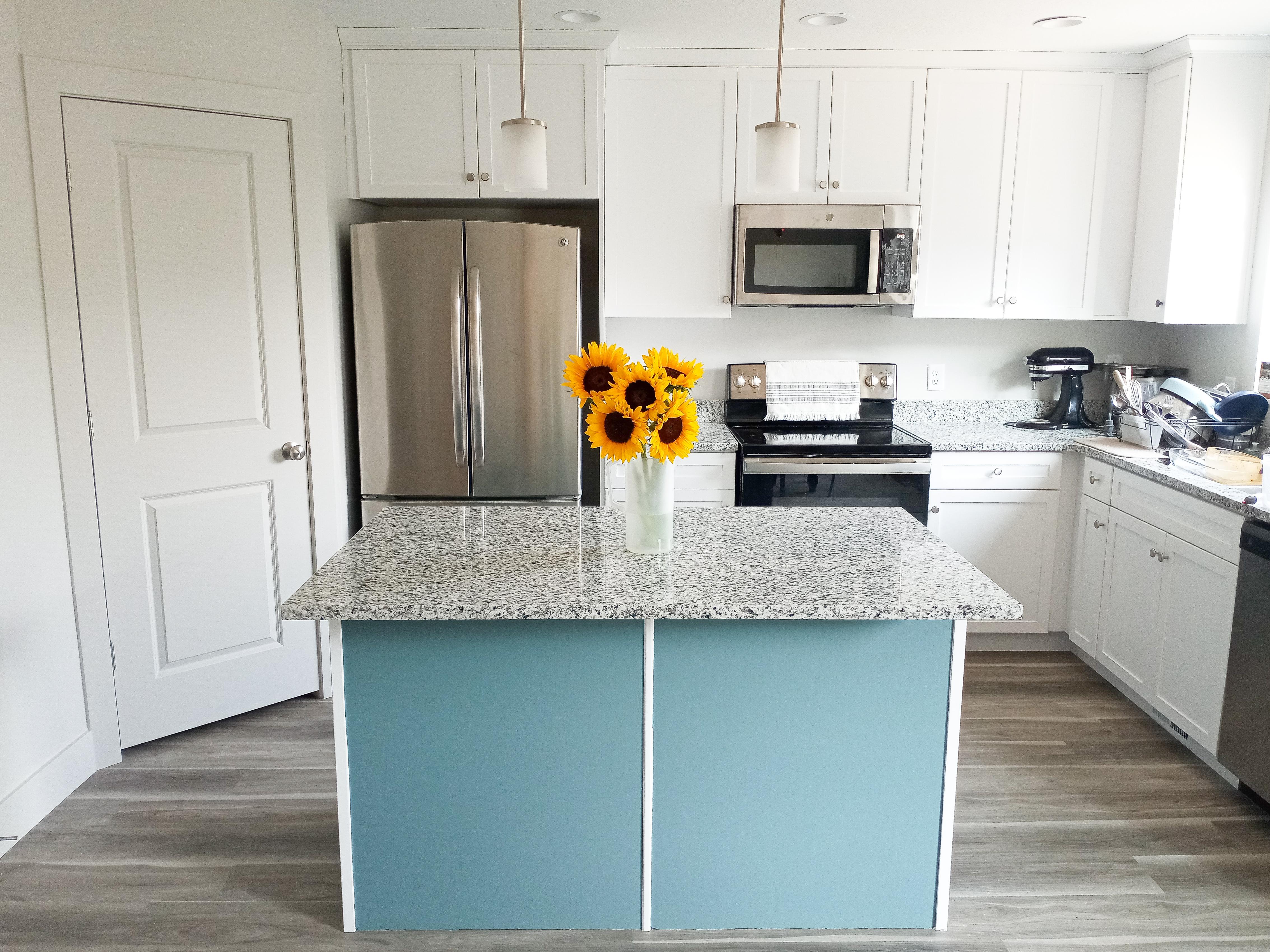Painting a kitchen island farmhouse blue sunflowers