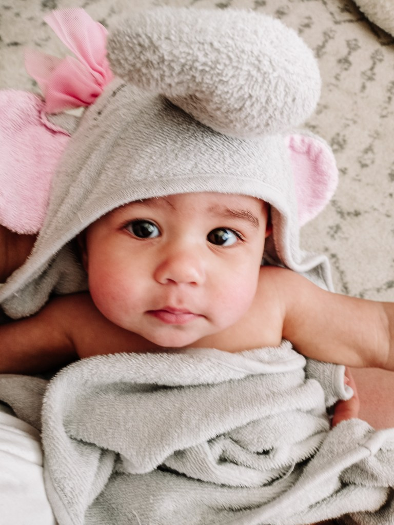 Cute baby in hooded elephant towel Baby Bath time Products