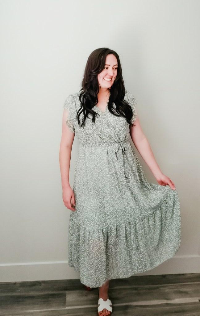 Sage green summer dress for moms