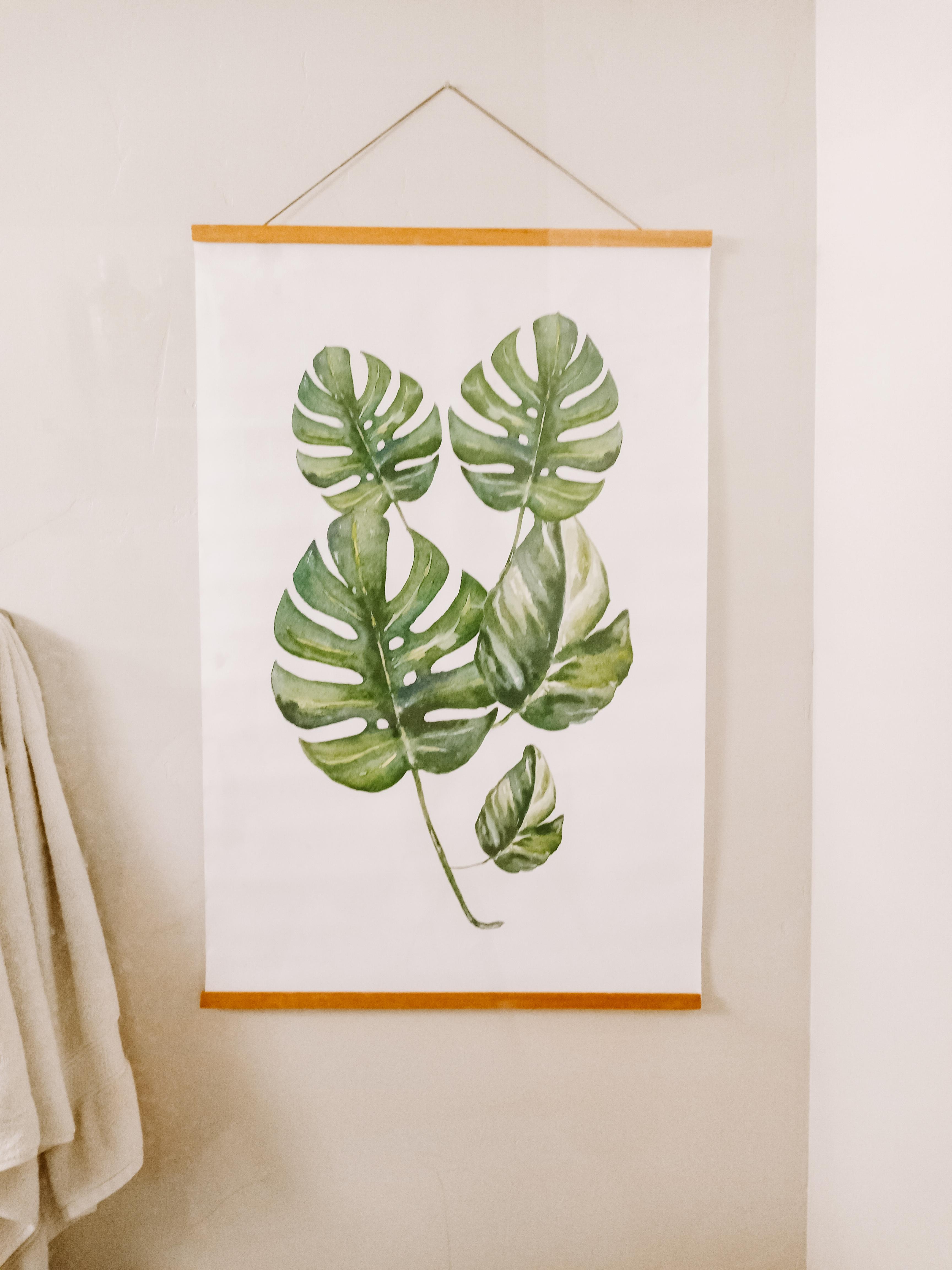 tropical spa bathroom Monstera leaf hanging wall art