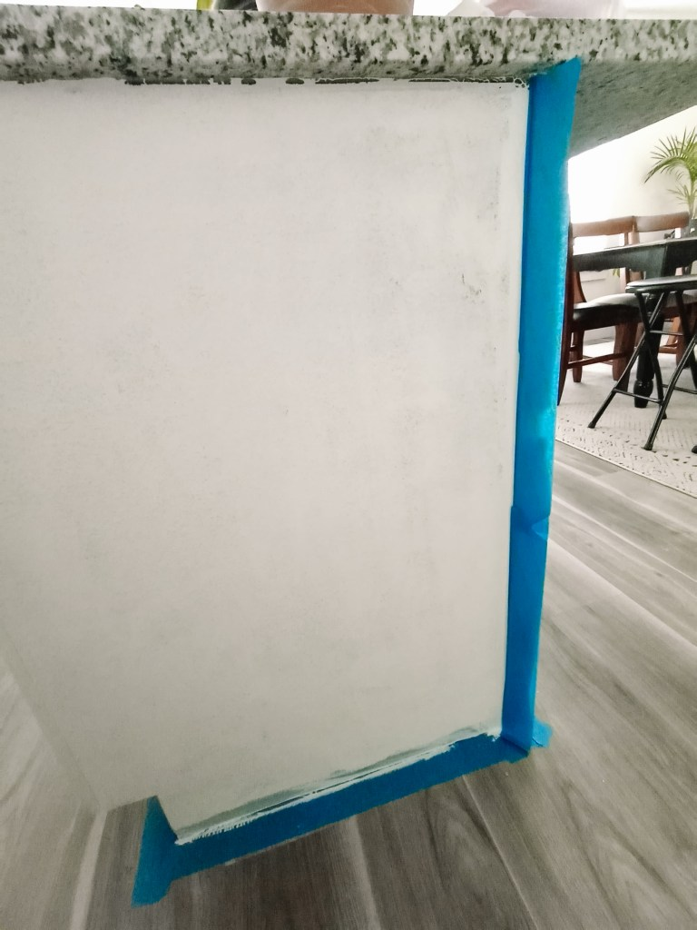Painting a kitchen island tape